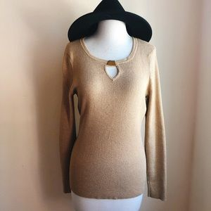 INC Gold Lurex Sweater with Gold Buckle